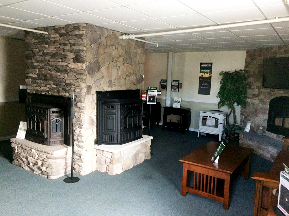 Acushnet Alternative Heating, store interior, showroom of fireplaces-inserts-pellet stoves